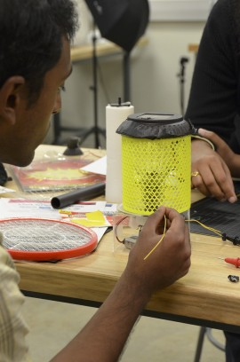 First prize team, M@RS, developed a modified bug zapper for malaria mosquito monitoring.